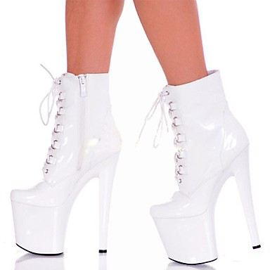 Women's Shoes PU(Polyurethane) Winter Fashion Boots Boots Stiletto Heel Round Toe Booties / Ankle Boots Zipper / Lace-up White / Black