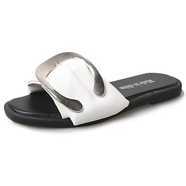 Women's PU(Polyurethane) Summer Comfort Slippers & Flip-Flops Walking Shoes Flat Heel Round Toe / Square Toe White / Black