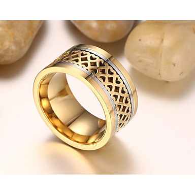 Men's Band Ring - Personalized, Vintage, Fashion 9 / 10 / 11 Gold / Titanium / Matt black For Wedding / Engagement / Daily