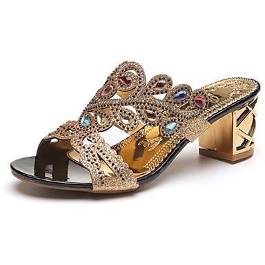 Women's Shoes PU(Polyurethane) Spring Light Soles Sandals Block Heel Open Toe Sparkling Glitter Beige / Blue / Royal Blue