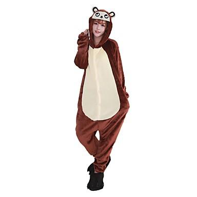 Adults' Kigurumi Pajamas with Slippers Monkey Onesie Pajamas Costume Flannel Fabric Brown Cosplay For Animal Sleepwear Cartoon Halloween Festival / Holiday / Christmas