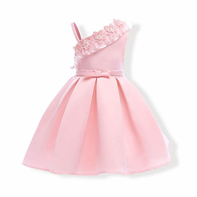 Girl's Solid Dress, Cotton Polyester Summer Sleeveless Floral Blushing Pink