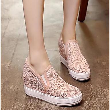 Damen Schuhe PU Frühling Komfort Loafers & Slip-Ons Blockabsatz Für Normal Weiß Schwarz Rosa