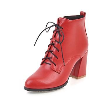 Mujer Zapatos Semicuero Invierno Botas de Moda Botas Tacón Cuadrado Dedo Puntiagudo Botines / Hasta el Tobillo Blanco / Negro / Rojo WHnXrRzsBy