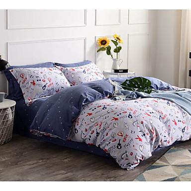 Geometrisch 4 Stück Baumwolle Baumwolle 1 Stk. Bettdeckenbezug 2 Stk. Kissenbezüge 1 Stk. Betttuch