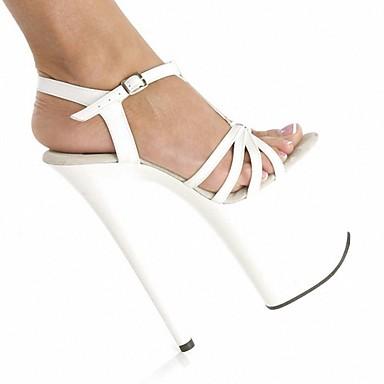 Noir Gris Sandales ouvert 06138292 Femme Aiguille Polyuréthane Chaussures Bout Lacet Boucle Talon Chaussures formelles Blanc Eté qR6w6xOaB