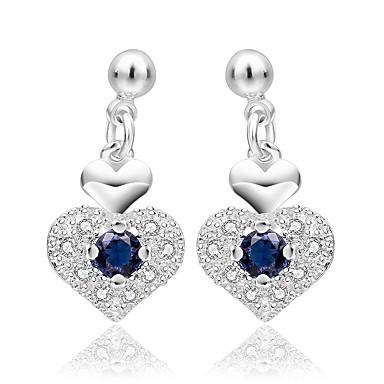 Damen Tropfen-Ohrringe Schmuck nette Art versilbert Herzform Schmuck Für Hochzeit Party Alltag Normal