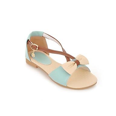 Damen Schuhe PU Sommer Komfort Sandalen Flacher Absatz Offene Spitze Für Normal Blau Rosa