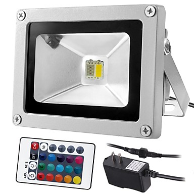 1pc 10 W LED Floodlight Remote Controlled / Dimmable / Decorative RGB+Warm / RGB+White 85-265 V Outdoor Lighting / Courtyard / Garden