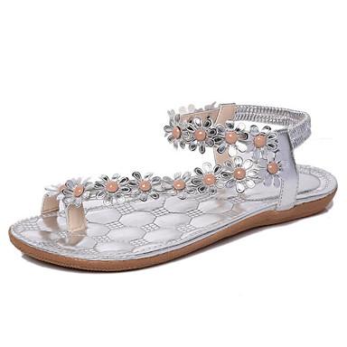 Damen Schuhe PU Sommer Komfort Sandalen Für Normal Weiß Silber Mandelfarben