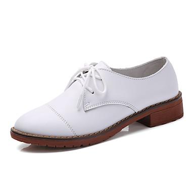 Damen Schuhe Leder Frühling Herbst Komfort Flache Schuhe Flacher Absatz Spitze Zehe Booties / Stiefeletten Schnürsenkel für Normal Büro &