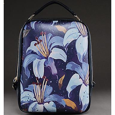 Damen Taschen Kuhfell Rucksack für Normal Ganzjährig Blau Weiß Himmelblau Tintenblau