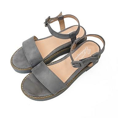 Damen Schuhe Kaschmir Sommer Fersenriemen Sandalen Walking Flacher Absatz Runde Zehe für Normal Schwarz Grau Mandelfarben