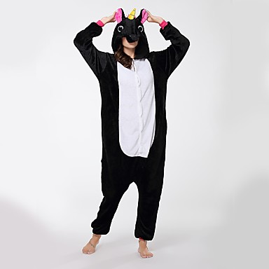 Adults' Kigurumi Pajamas Unicorn Flying Horse Onesie Pajamas Flannel Fabric Black Cosplay For Men and Women Animal Sleepwear Cartoon Festival / Holiday Costumes