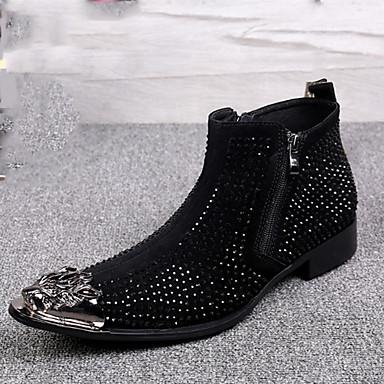 Férfi cipő Nappa Leather Ősz / Tél Kényelmes / Újdonság / Divatos csizmák Félcipők Bokacsizmák Fekete / Piros / Glitter / Esküvő