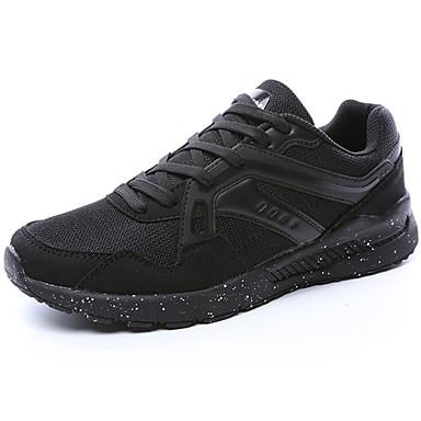 Férfi cipő PU Tavasz Ősz Kényelmes Sportcipők Gyalogló Fűző mert Sport Fekete Sötétkék Bíbor Fekete/Vörös