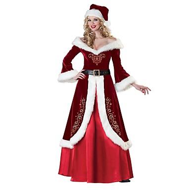 f03dd5c852 Mrs.Claus Vestidos Disfraz Santa vestir Adulto Mujer Navidad Año Nuevo  Mascarada Festival   Celebración Elastán Lycra Spandex Rojo Traje carnaval  Cosecha ...
