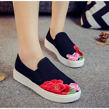 Damen Schuhe Stoff Frühling Komfort Loafers & Slip-Ons für Normal Schwarz