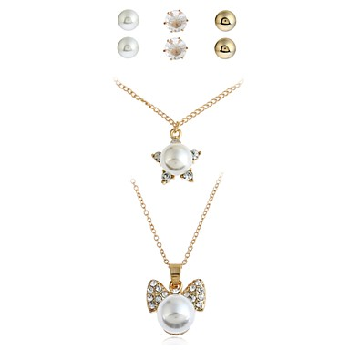 Női Gyöngy Gyöngy Ékszer szett - Természet / Gótikus / Állítható Geometric Shape Arany Beszúrós fülbevalók / Nyaklánc / Karkötő