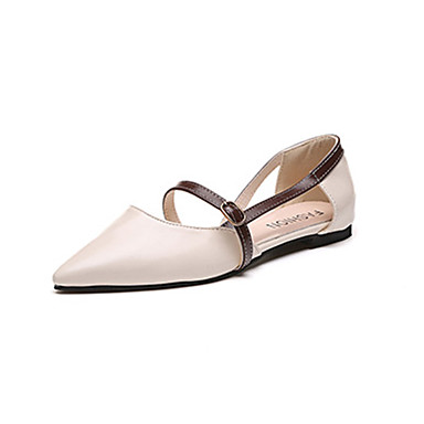 Women's Shoes PU(Polyurethane) Spring / Summer Comfort / Light Soles Sandals Flat Heel Pointed Toe Buckle Almond / Light Brown