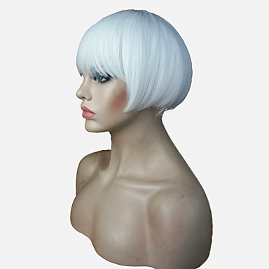 Szintetikus parókák Egyenes Bob frizura / Pixie frizura / Réteges frizura Szintetikus haj Természetes hajszálvonal Fehér Paróka Női Rövid Sapka nélküli