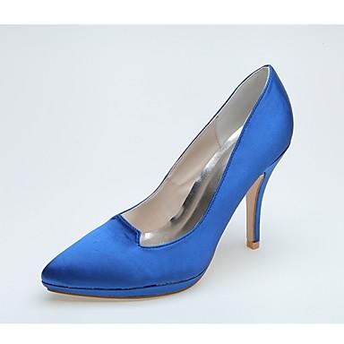 Női Cipő Szatén Tavasz Nyár Formai cipő Esküvői cipők Tűsarok Erősített lábujj mert Esküvő Party és Estélyi Kék Kristály