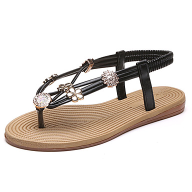 Women's Shoes PU(Polyurethane) Spring / Summer Comfort Slippers & Flip-Flops Flat Heel Open Toe Rhinestone Gold / Black / Silver