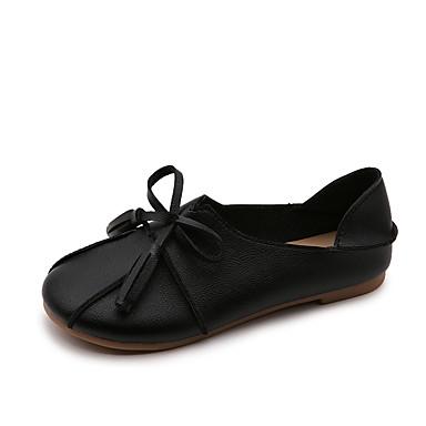 Damen Schuhe PU Frühling Sommer Komfort Loafers & Slip-Ons Flacher Absatz Runde Zehe Quaste für Normal Kleid Weiß Schwarz Beige Rot