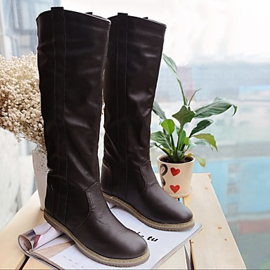 Damen Schuhe PU Winter Modische Stiefel Stiefel Flacher Absatz Kniehohe Stiefel Für Normal Weiß Schwarz Braun