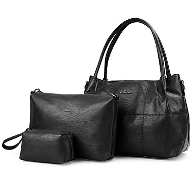 Damen Taschen PU Bag Set 3 Stück Geldbörse Set für Normal Schwarz Rote Purpur