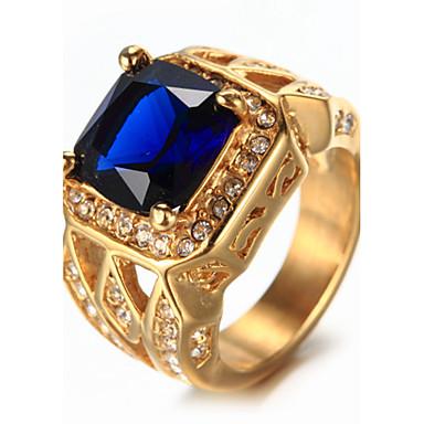 voordelige Heren Ring-Heren Saffier patiencespel Emerald Cut Zegelring Strass Titanium Staal Luxe Vintage Modieus Elegant Bling bling Modieuze ringen Sieraden Wit / Rood / Blauw Voor Bruiloft Verjaardag Lahja Dagelijks