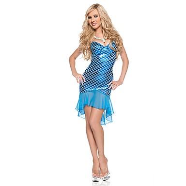 Meerjungfrau Märchen Cosplay Kleid Damen Unisex Halloween Karneval Fest / Feiertage Halloween Kostüme Blau Vintage