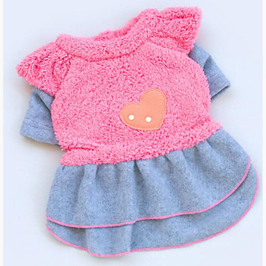 Dog Dress Dog Clothes Heart Plush Fabric Costume For Pets Men's / Women's Casual / Daily