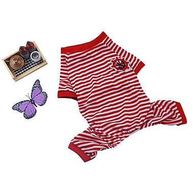 Hund Pyjamas Hundekleidung Atmungsaktiv Lässig/Alltäglich Streifen Rose Rosa Rose Rot Blau Rosa Kostüm Für Haustiere
