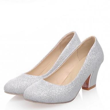Damen Schuhe PU Frühling Sommer Komfort High Heels Niedriger Absatz Für Hochzeit Normal Party & Festivität Silber Purpur Mandelfarben