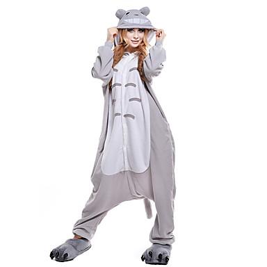 Kigurumi-Pyjamas Totoro / Katze Pyjamas-Einteiler Kostüm Korallenfleece Grau Cosplay Für Erwachsene Tiernachtwäsche Karikatur Halloween