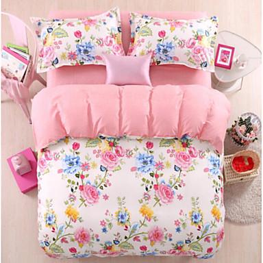 Blumen / Pflanzen 4 Stück Baumwolle Baumwolle 4-teilig (1 Bettbezug, 1 Bettlaken, 2 Kissenbezüge)