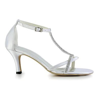 06118088 Femme Chaussures Chaussures Blanc Eté Satin Bout de Basique Escarpin Cristal Mariage mariage Elastique Aiguille ouvert Talon axgqCwra