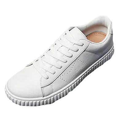 Herrn Schuhe PU Frühling Herbst Komfort Sneakers für Draussen Weiß Schwarz Rot