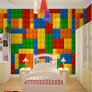 Art Deco 3D Rainbow Home Decoration Cute Modern Wall Covering, Canvas Material Adhesive required Mural, Room Wallcovering