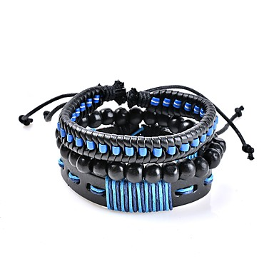 Men's Women's Geometric Leather Bracelet - Leather Classic, Bohemian, Basic Bracelet Blue For Wedding New Baby Gift