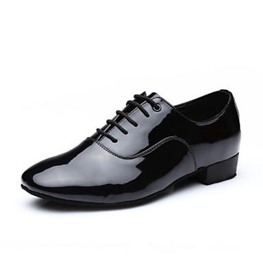 Férfi Latin cipők Műbőr Teljes talpú Alacsony Dance Shoes Fekete / Bőr / Gyakorlat