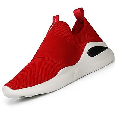 Herrn Schuhe Stoff Sommer Herbst Komfort Leuchtende Sohlen Sneakers Schnürsenkel für Normal Schwarz Rot