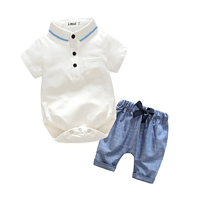 cheap Boys Clothing Set Best Sellers-Baby Boys' Dresswear Birthday / Party / Evening / Sport Solid Color Short Sleeves Cotton / Polyester Taffeta Clothing Set White / Holiday / Going out