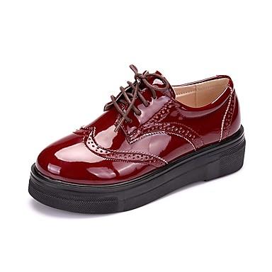 Női Cipő Lakkbőr Tavasz Ősz Formai cipő Félcipők Ék sarkú Kerek orrú Fűző mert Hivatal és karrier Fekete Piros