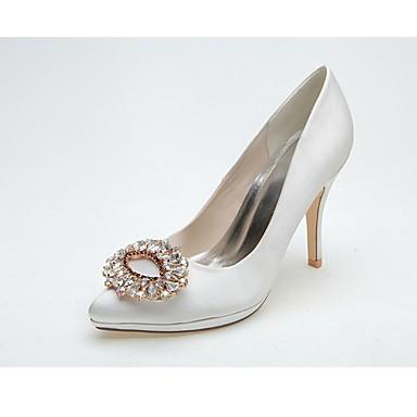 Női Cipő Szatén Tavasz Nyár Formai cipő Esküvői cipők Tűsarok Erősített lábujj Strasszkő mert Esküvő Party és Estélyi Fehér Rózsaszín
