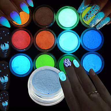 1set / 12pcs Acrylic Powder Glitter Powder 12 Colors nail art Manicure Pedicure Elegant & Luxurious / Sparkle & Shine / Fluorescent