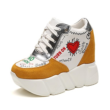 Damen Schuhe PU Herbst formale Schuhe High Heels Walking Keilabsatz Runde Zehe Schnürsenkel für Kleid Party & Festivität Schwarz Gelb