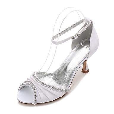 Női Cipő Szatén Tavasz / Nyár D'Orsay és kétrészes / Mary Jane / Kényelmes Esküvői cipők Cicasarok / Alacsony / Tűsarok Köröm Strasszkő /