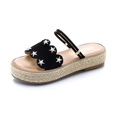 Női Cipő PU Nyár Könnyű talpak Papucs és papuc Lapos Lábujj nélküli Fekete / Mandula